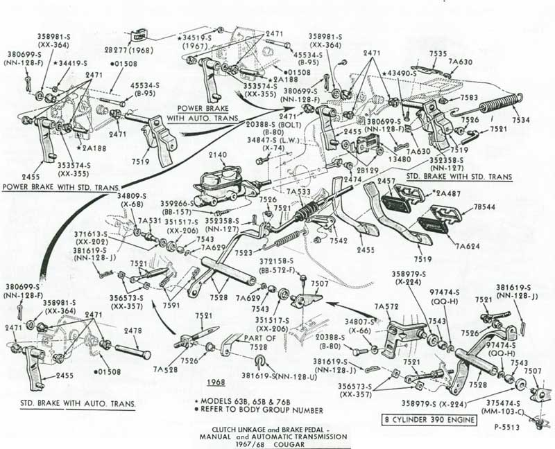 67 68ClutchParts2 manual at west coast classic cougar specializing in 1967, 1968 mustang parts diagram at bayanpartner.co