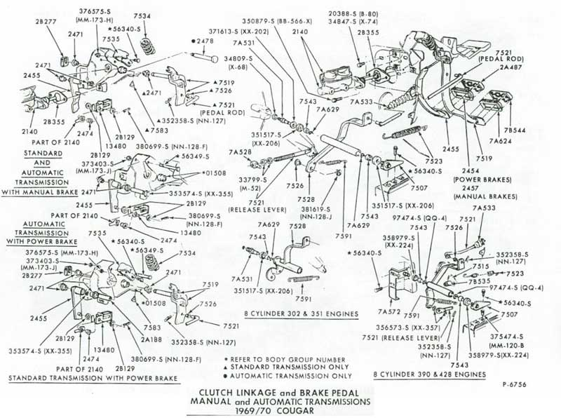 69 70ClutchParts2 1969 1970 clutch linkage and equalizer parts at west coast 69 cougar wiring diagram at readyjetset.co