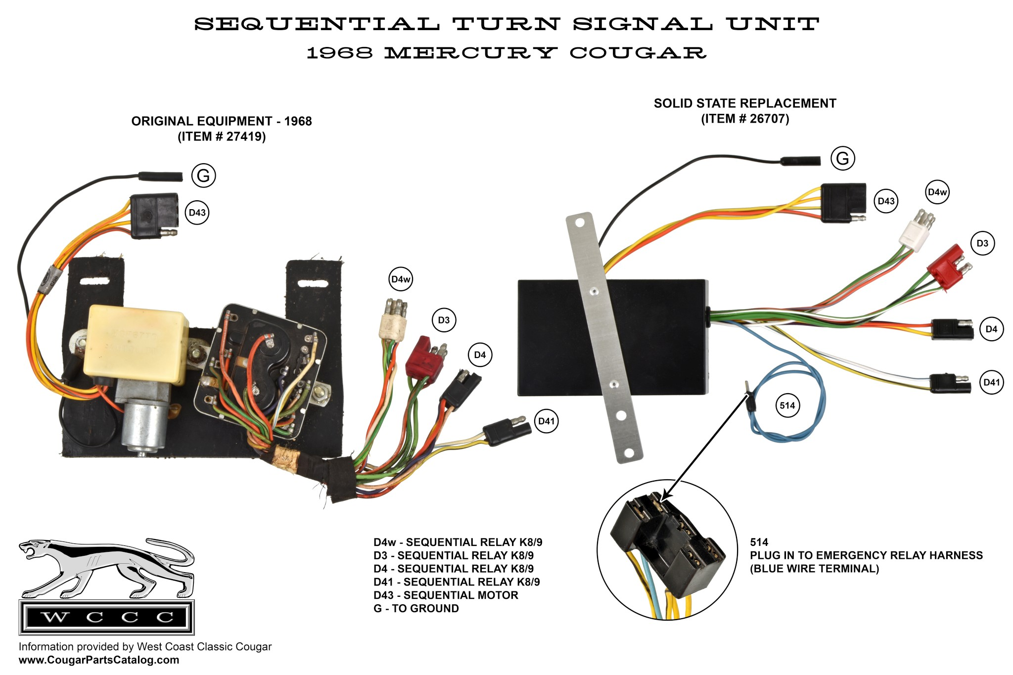 Wiring Diagram To 1968 302 Schematic 68 Ford Color Of Wires Sequential Turn Signal Box Solid State Repro Mercury Rh Secure Cougarpartscatalog Com 1969 Mustang Cougar